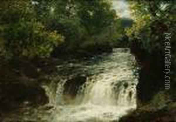 A Waterfall On A River Oil Painting - John Brandon Smith