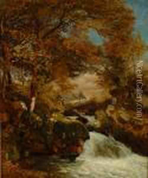 Upland River In Spate With Cottage Beyond Oil Painting - John Brandon Smith