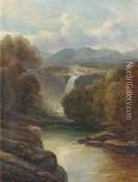 An Angler On A Riverbank; A Waterfall In A River Landscape Oil Painting - John Brandon Smith