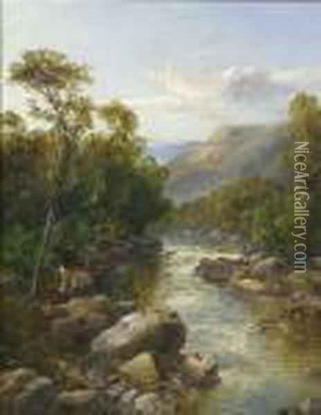 River Landscape With Boy With Fishing Net Oil Painting - John Brandon Smith