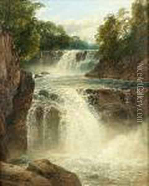 The Swallow Falls, Vale Of Neath Oil Painting - John Brandon Smith