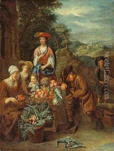A Vegetable Stall With Figures, A Restingsavoyard And His Marmot Oil Painting - Pieter Snyers