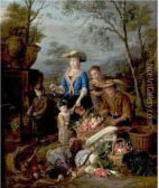 A Vegetable Seller Oil Painting - Pieter Snyers