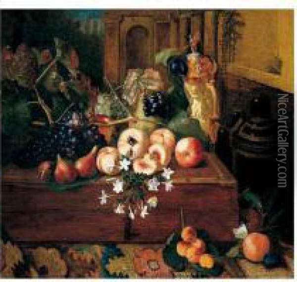 Still Life Of Peaches, Grapes, A  Pear And A German Ivory Tankard Upon A Wooden Box, Together With Apples  And Apricots Upon A Carpet Oil Painting - Pieter Snyers