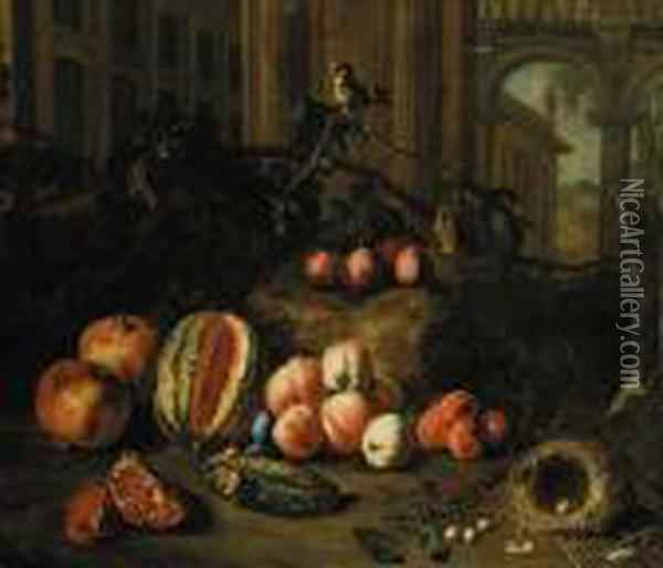 Plums On The Branch, Peaches,  Apricots, A Melon, Pomegranates, A Nest With Eggs And A Goldfinch By  Classical Buildings, A Landscape Beyond Oil Painting - Pieter Snyers
