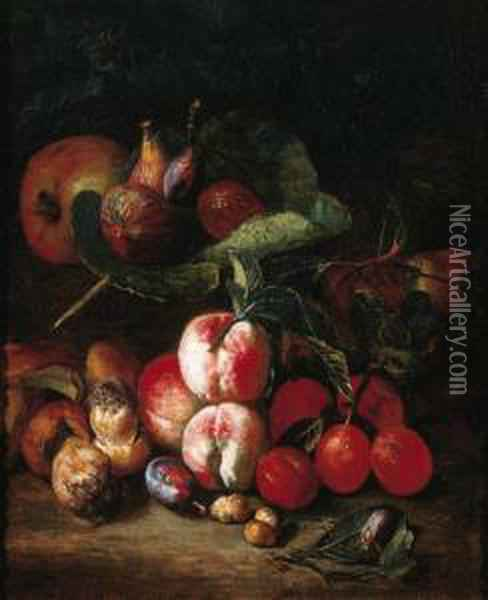 Peaches, Plums, Medlar Oil Painting - Pieter Snyers