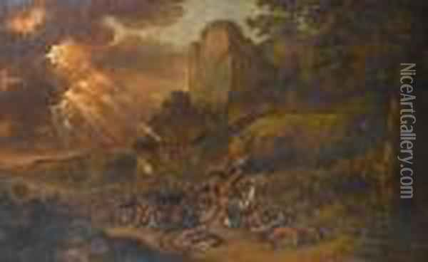 Moses Overlooking The Battle Between The Israelites And The Amalekites Oil Painting - Jan Gabrielsz. Sonje