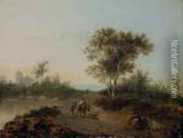 An Italianate Landscape With Travelers On A Path Oil Painting - Jan Gabrielsz. Sonje