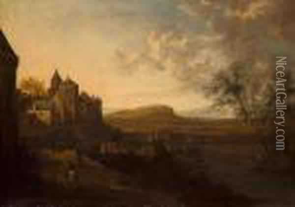 An Extensive River Landscape  With A Castellated Village On A Hill And Figures In The Foreground Oil Painting - Jan Gabrielsz. Sonje