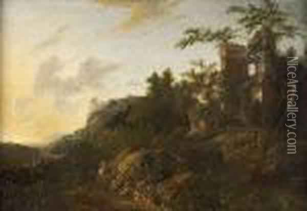 Horseman On A Wooded Mountain Road Leading To Ruins Oil Painting - Jan Gabrielsz. Sonje