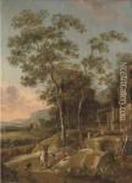 A Wooded River Landscape With A Figure On Horseback And Anglers Resting On A Track Oil Painting - Jan Gabrielsz. Sonje