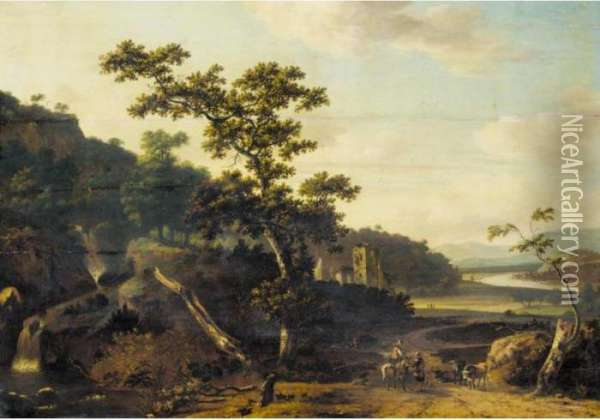 An Italianate River Landscape With Figures And Animals On A Road, A Ruined Castle Beyond Oil Painting - Jan Gabrielsz. Sonje