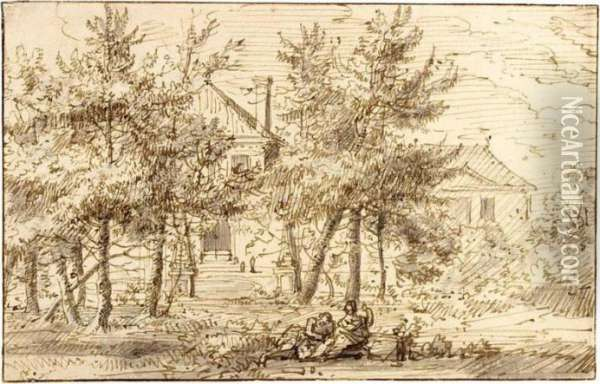 Landscape With Houses Behind Trees And Figures Resting In The Foreground Oil Painting - Jan Gabrielsz. Sonje