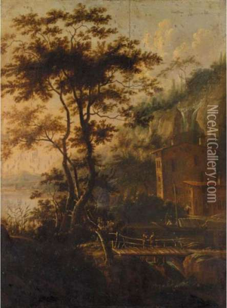 A River Landscape With Two Men On A Bridge With A House And Waterfall Beyond Oil Painting - Jan Gabrielsz. Sonje