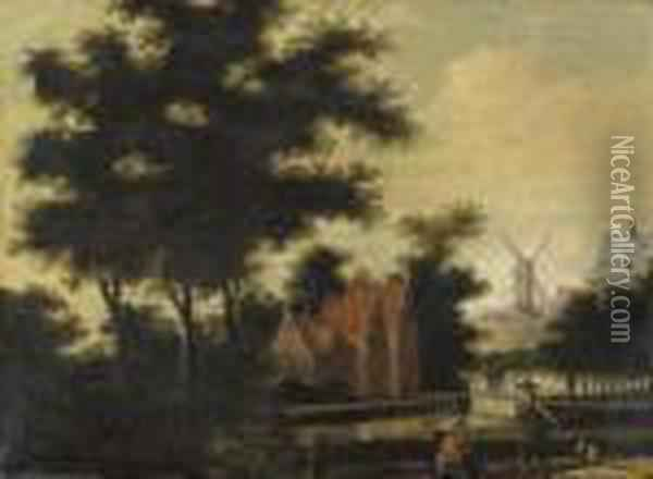 Figures On A Path By A River, A Town Beyond Oil Painting - Jan Gabrielsz. Sonje