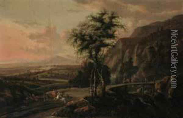 An Extensive Mountain Landscape, With A Hawking Party On A Road Bya Bridge Oil Painting - Jan Gabrielsz. Sonje