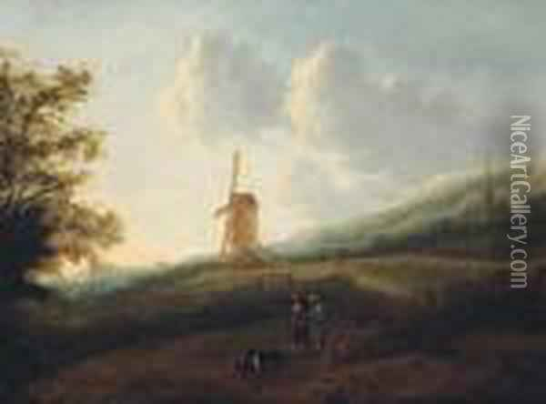 A Landscape With Travellers By A Windmill, A Town In Thedistance Oil Painting - Jan Gabrielsz. Sonje
