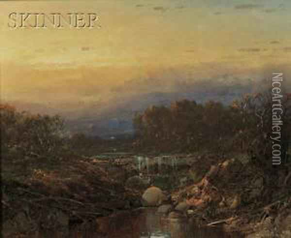 The Falls At Sunset Oil Painting - William Louis Sonntag