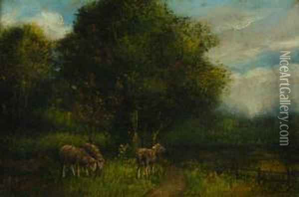 Depicting Grazing Sheep Oil Painting - William Louis Sonntag