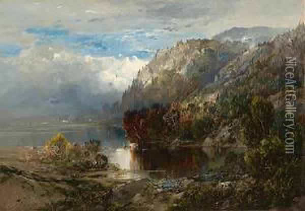 Mountain Landscape With Lake Oil Painting - William Louis Sonntag