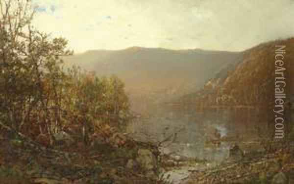 Fishing In The Adirondacks Oil Painting - William Louis Sonntag