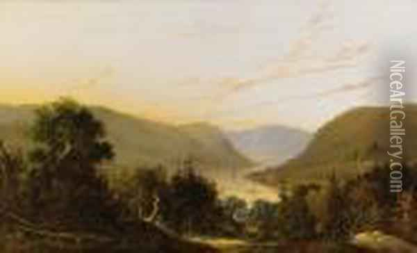 Hudson River Landscape With River Traffic Oil Painting - William Louis Sonntag