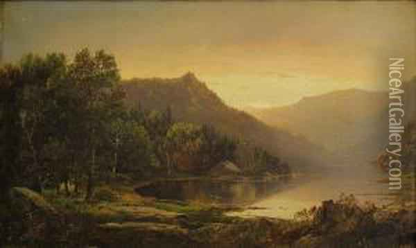 New England Mountain Lake At Sunrise Oil Painting - William Louis Sonntag