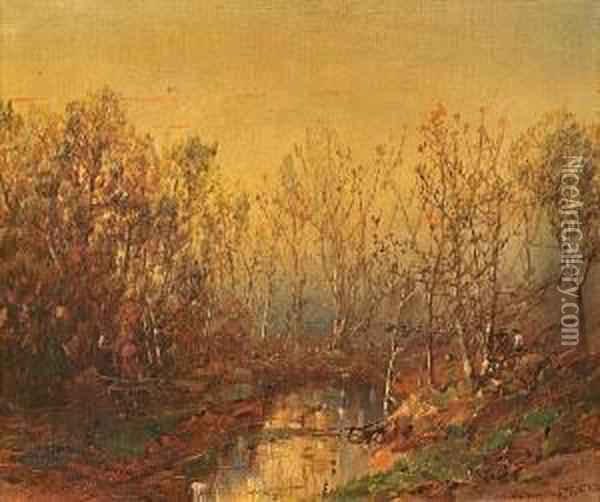 Two Figures By A Stream In The Woods Oil Painting - William Louis Sonntag