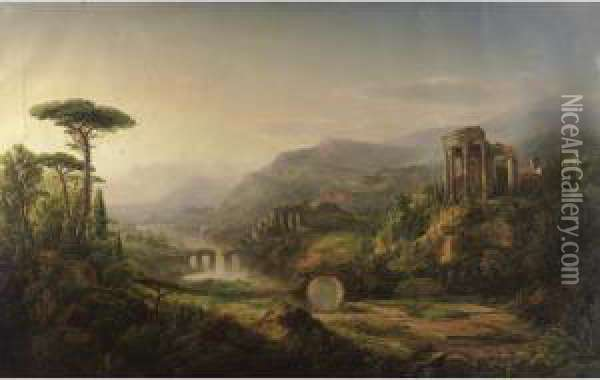 Lanscape With Temple Ruins Oil Painting - William Louis Sonntag