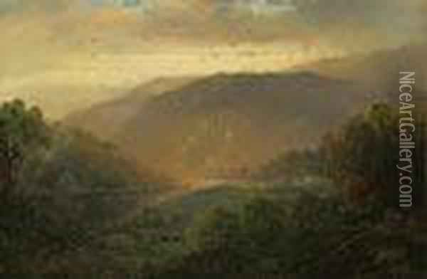 ''the Hudson Valley'' Oil Painting - William Louis Sonntag