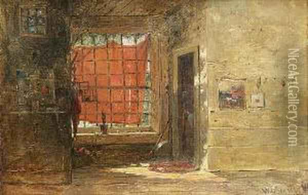 An Interior Looking Towards A Window Oil Painting - William Louis Sonntag