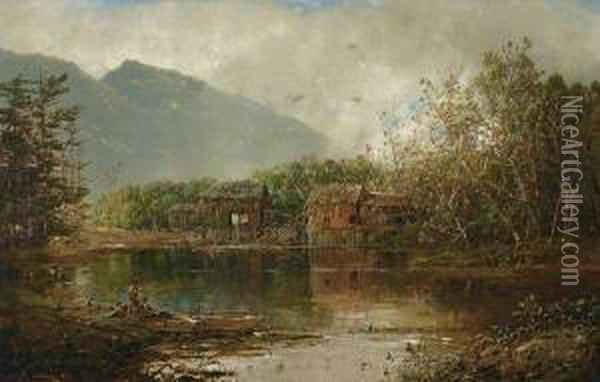 ''old Mill On The Androscoggin'' Oil Painting - William Louis Sonntag