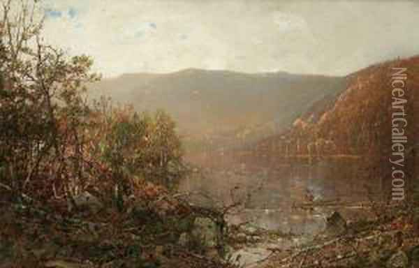 ''fishing In The Adirondacks'' Oil Painting - William Louis Sonntag