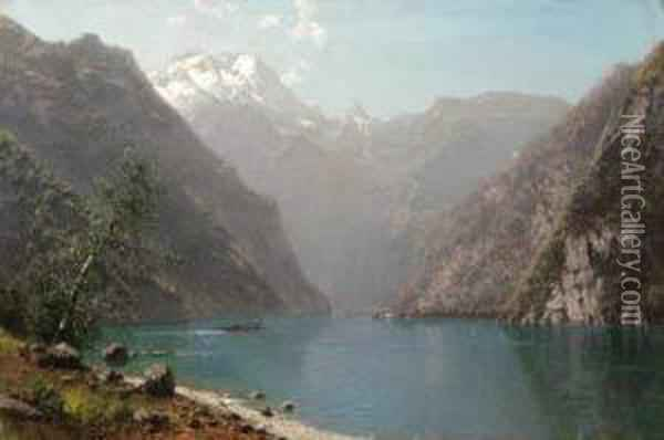 Boating On A Mountain Lake Oil Painting - William Louis Sonntag