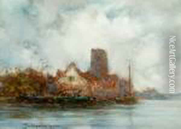 Grey Day On The Scheldt, Belgium Oil Painting - Frank Spenlove Spenlove