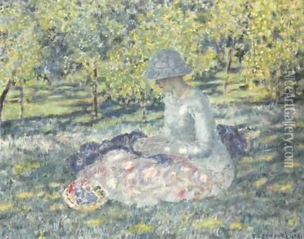 Woman Seated in a Park with Basket Oil Painting - Frederick Carl Frieseke