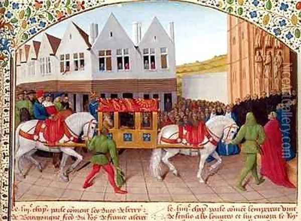 Arrival of Emperor Charles IV 1316-78 at the Basilica St Denis in 1378 Oil Painting - Jean Fouquet