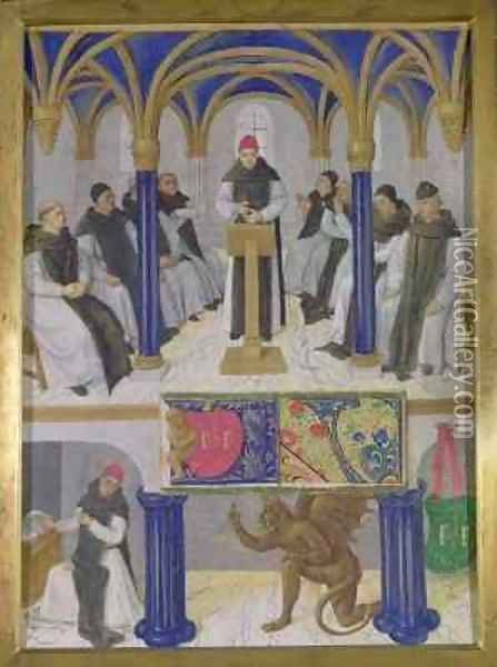 St Bernard Abbot of Clairvaux 1090-1153 from the Hours of Etienne Chevalier Oil Painting - Jean Fouquet