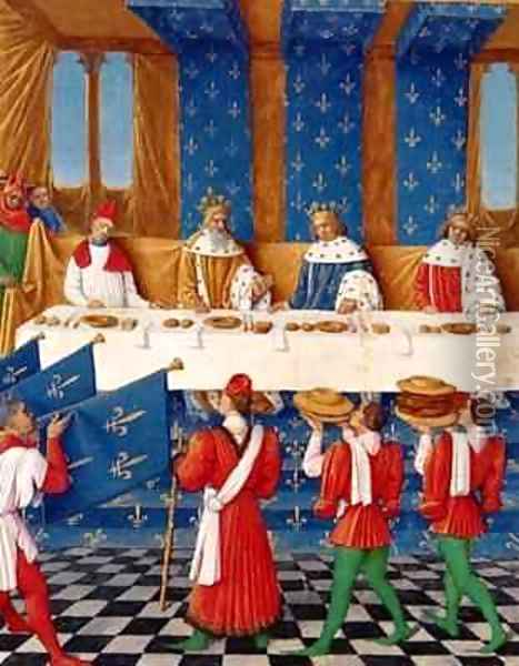Banquet given by Charles V 1338-80 in honour of his uncle Emperor Charles IV 1316-78 in 1378 Oil Painting - Jean Fouquet