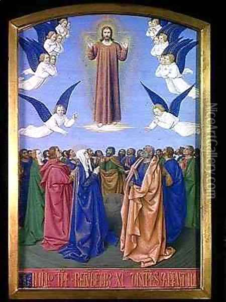 The Ascension from the Hours of Etienne Chevalier Oil Painting - Jean Fouquet