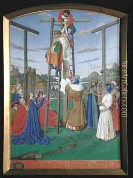 The Deposition from the Hours of the Cross and the Holy Spirit Oil Painting - Jean Fouquet