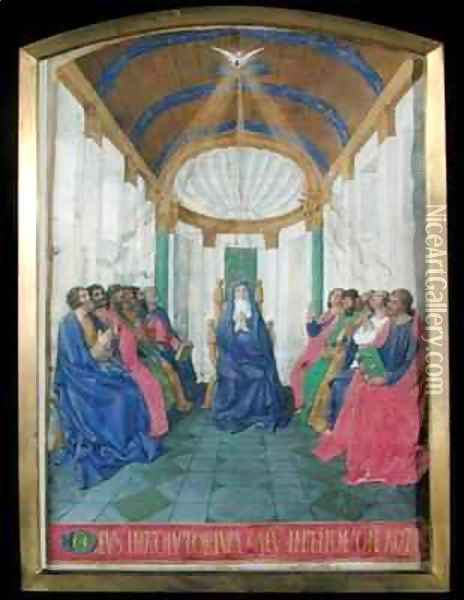 Pentecost from the Hours of the Cross and the Holy Spirit from the Hours of Etienne Chevalier Oil Painting - Jean Fouquet