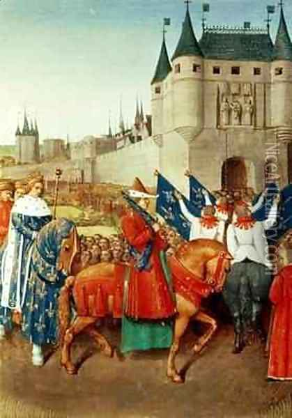 The Arrival of Charles V 1337-80 in Paris Oil Painting - Jean Fouquet