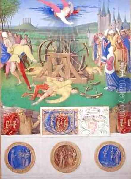 The Suffering of the Saints the Martyrdom of St Catherine of Alexandria from the Hours of Etienne Chevalier Oil Painting - Jean Fouquet