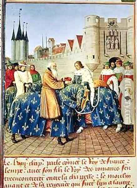 Ms Fr 6465 fol 444 Charles V 1338-80 receiving Emperor Charles IV 1316-78 at the Porte du Temple in Paris Oil Painting - Jean Fouquet