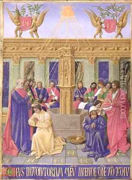 The Fountain of the Apostles from the Hours of the Cross and the Holy Spirit Oil Painting - Jean Fouquet