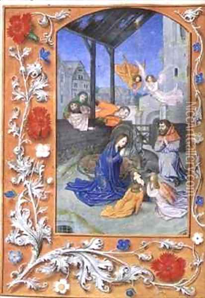 The Nativity from Hours of Etienne Chevalier Oil Painting - Jean Fouquet