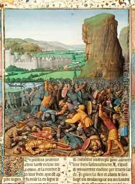 Victory of the Israelites over the Philistines Oil Painting - Jean Fouquet