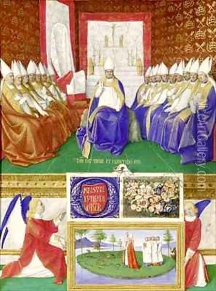 St Hilary of Poitiers Presiding over a Council from the Hours of Etienne Chevalier Oil Painting - Jean Fouquet