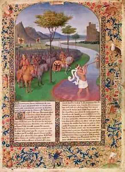Julius Caesar 100-44 BC Crossing the Rubicon Oil Painting - Jean Fouquet
